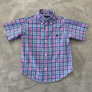 RALPH LAUREN Short Sleeve Poplin Button Down Shirt